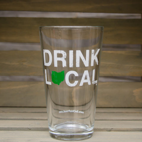 Drink Local Pint Glass Green/White