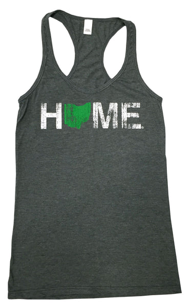 Ladies Home Ohio Racerback Green/White