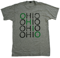 Unisex Repeat Ohio Soft Tee - Green and Black