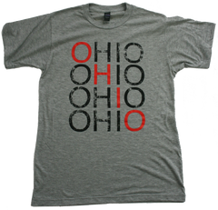Unisex Repeat Ohio Soft Tee - Red and Black