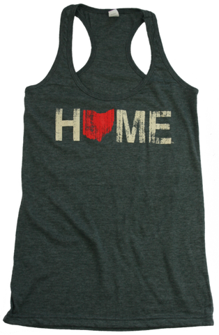 Ladies Home Ohio Racerback Red/Eggshell