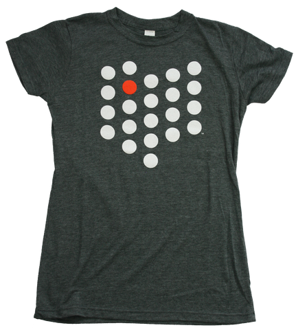 Ladies Bowling Green City/State Dot Tee Charcoal