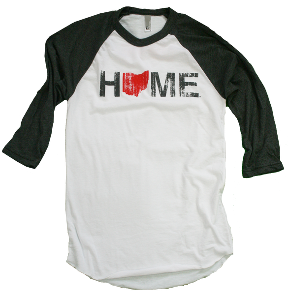ohio home 3 4 baseball tee red bop be ohio proud. Black Bedroom Furniture Sets. Home Design Ideas