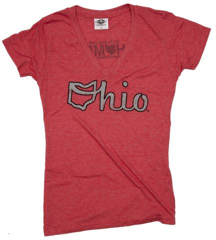 Ladies' Ohio V-Neck | Ohio Script | Grey/Black