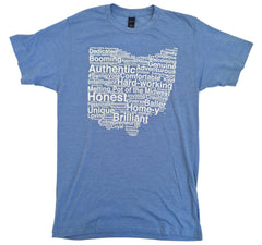Unisex Ohio White Word Cloud Tee - Athletic Blue