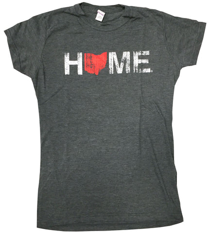 Ladies' Home Ohio Charcoal Tee - Red/White