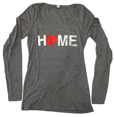 Ladies Ohio Home Long Sleeve Scoop Neck - Red/White