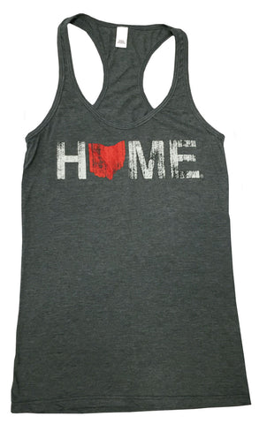 Ladies Home Ohio Red Racerback Charcoal
