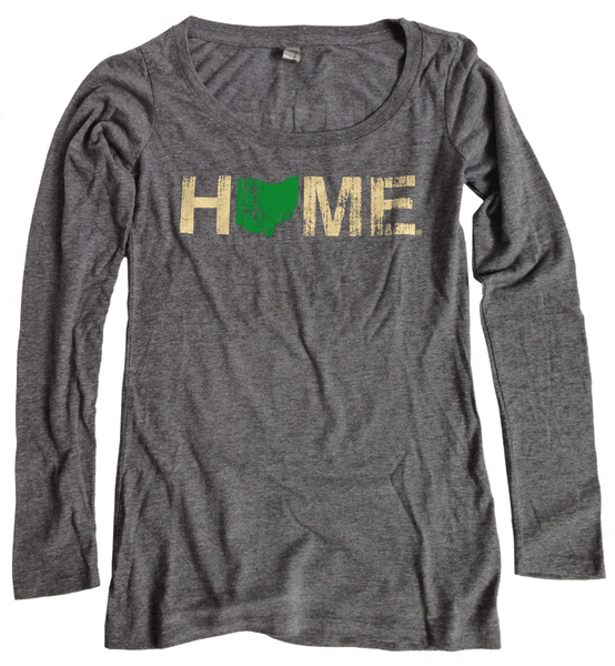 Ladies Ohio Home Long Sleeve Scoop Neck - Green/Eggshell
