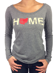 Ladies Ohio Home Long Sleeve Scoop Neck - Red/Eggshell