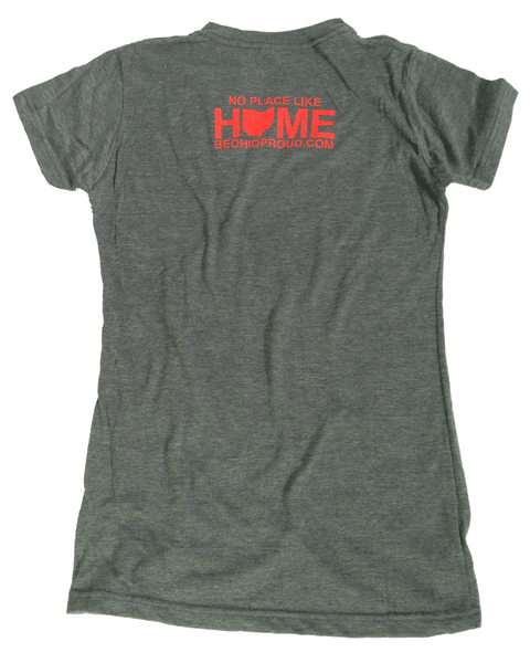 Ladies' Cincinnati City/State Red Dot Tee - Charcoal