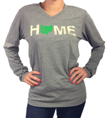 Unisex Ohio Home Long Sleeve V-Neck - Green/Eggshell