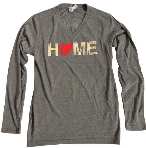 Unisex Ohio Home Long Sleeve V-Neck - Red/Eggshell