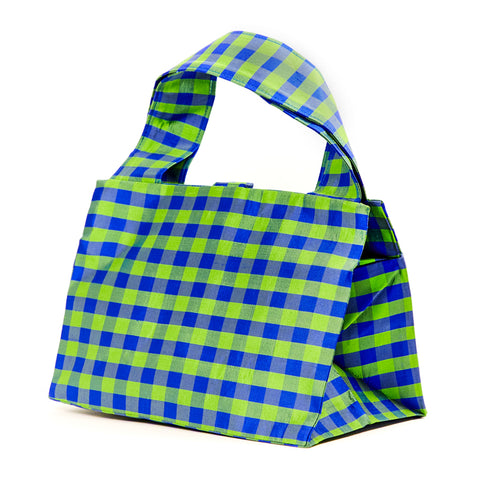GINGHAM GREEN BLUE LADY BAG