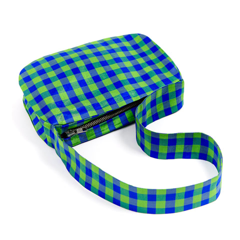 GINGHAM LIME BLUE BAGUETTE BAG