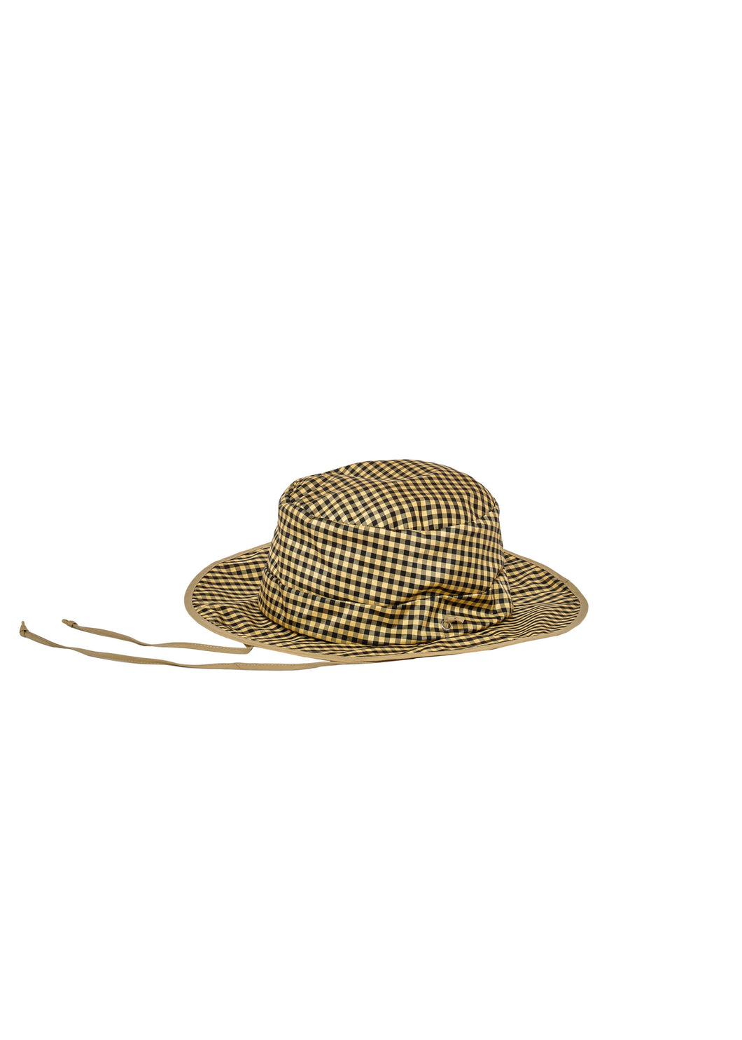 Reversible Tan Nylon + Gingham Black Yellow Foldable Hat