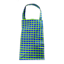 Load image into Gallery viewer, XL GINGHAM LIME BLUE EVERYDAY BAG