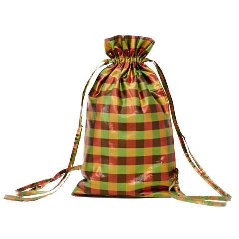 IRIDESCENT MUSTARD DRAWSTRING BACKPACK