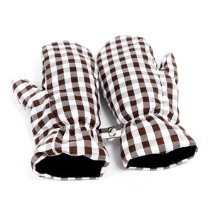 Gingham Brown White Mittens