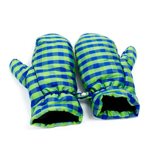 Gingham Blue Lime Mittens