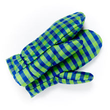 Load image into Gallery viewer, Gingham Blue Lime Mittens