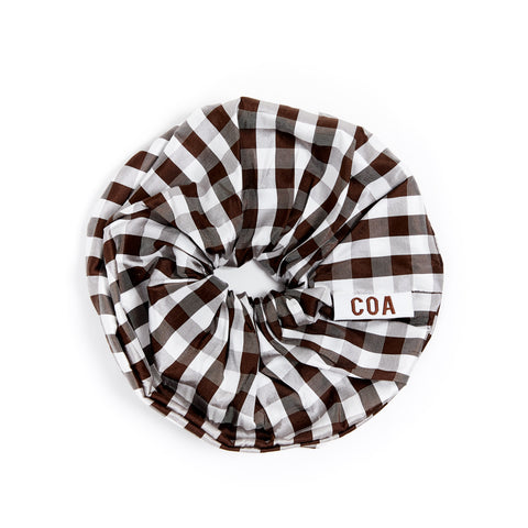 GINGHAM BROWN OVERSIZED SCRUNCHIE