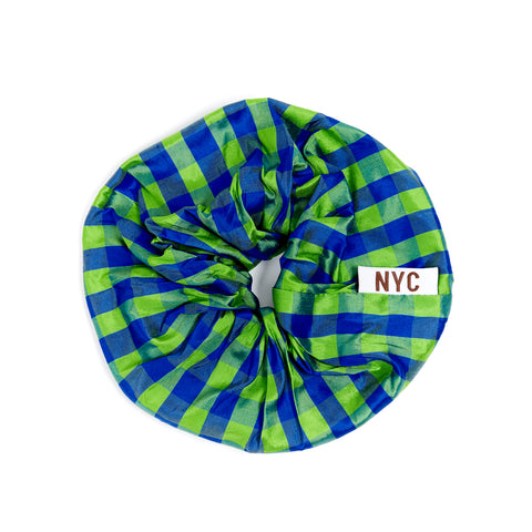 GINGHAM LIME BLUE OVERSIZED SCRUNCHIE