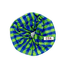 Load image into Gallery viewer, GINGHAM LIME BLUE OVERSIZED SCRUNCHIE