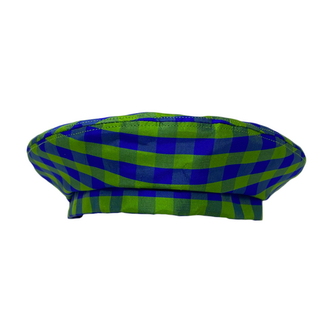 GINGHAM LIME BLUE BERET HAT