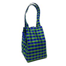 Load image into Gallery viewer, GINGHAM LIME BLUE EVERYDAY BAG