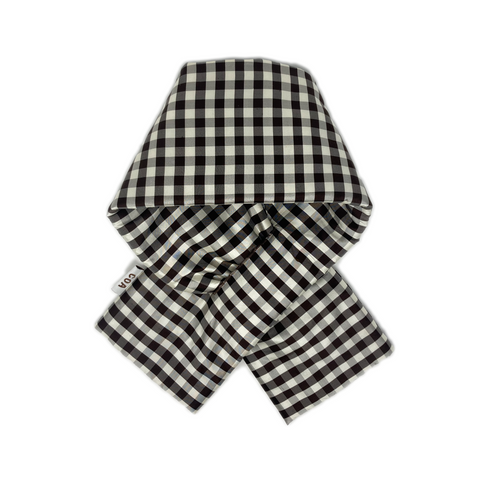 GINGHAM BROWN WHITE PADDED SCARF