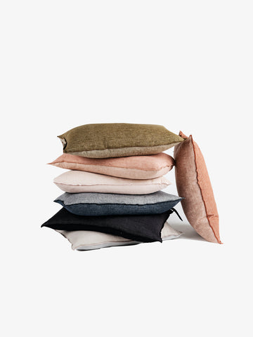 Washed Linen Vice Versa Cushion in Kaki (3 sizes avail)