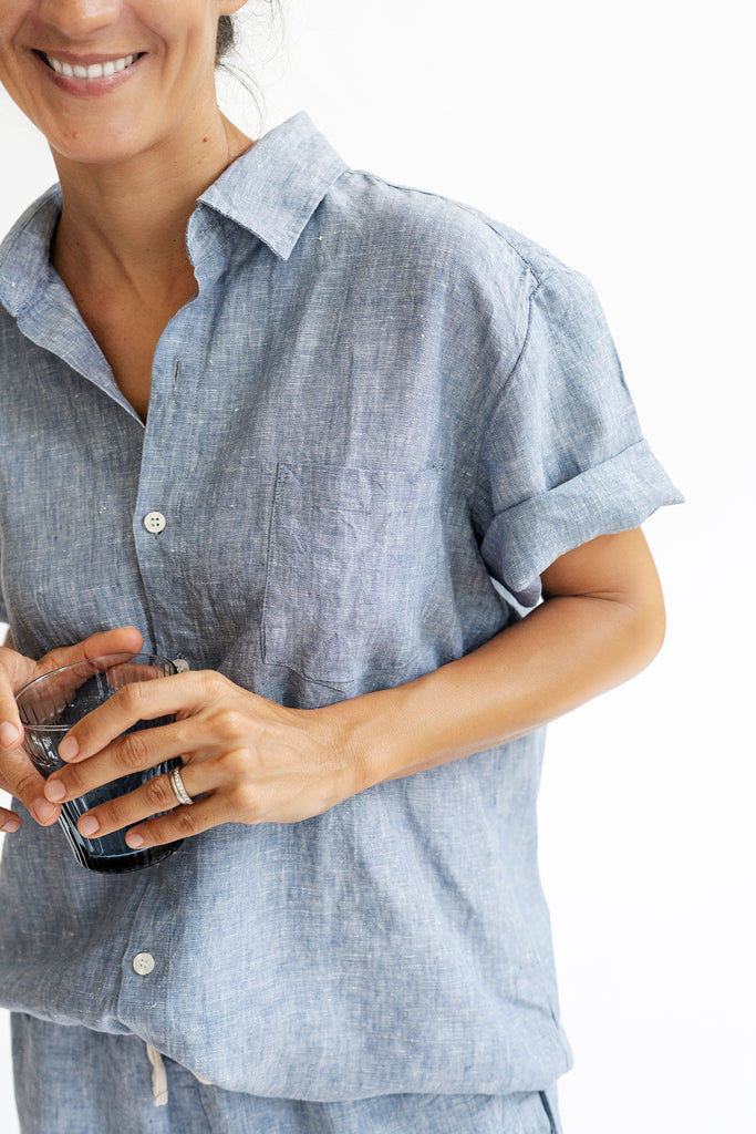 Linen Pyjama Shirt in Blue