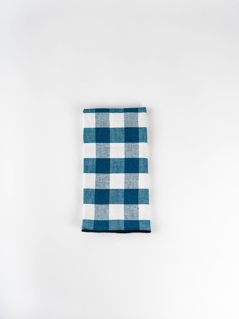 Gingham Linen Napkin - Set of 6, Canard
