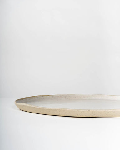 Handmade Ceramic Oval Serving Platter, White on Stone