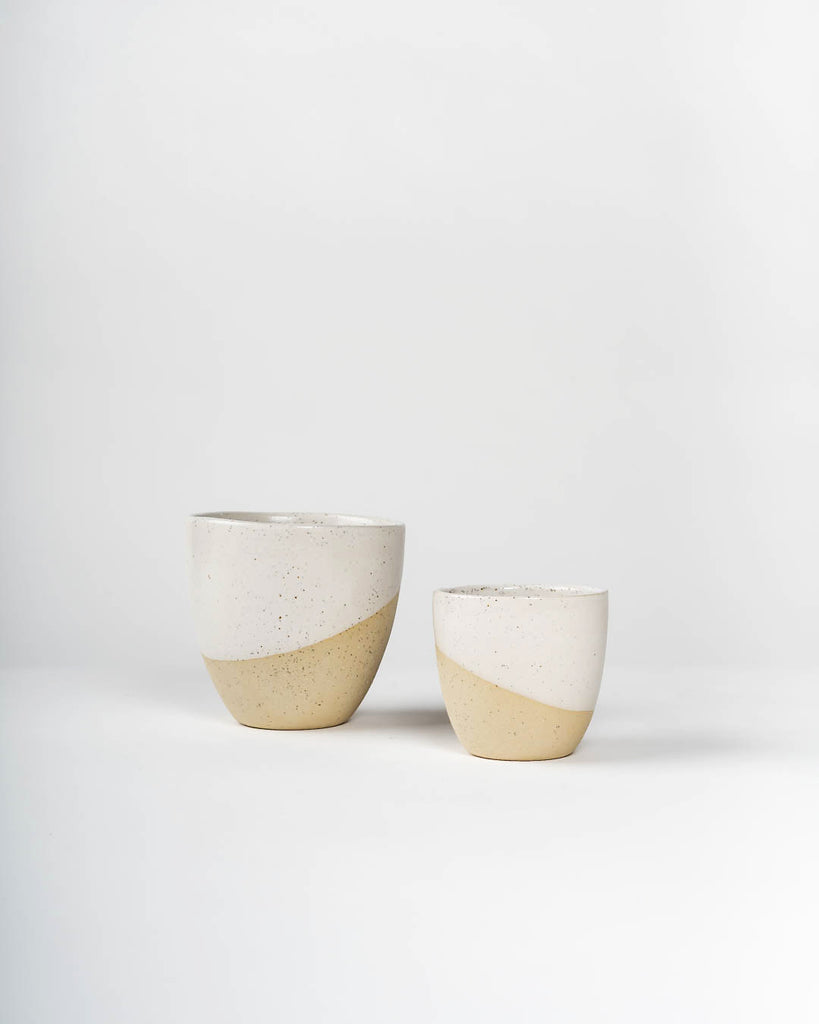 Handmade Ceramic Coffee Cup, White on Stone