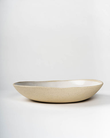 Handmade Ceramic Serving Bowl with Servers, White on Stone