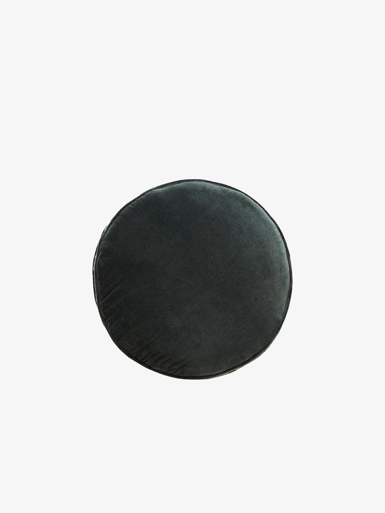 Velvet Penny Round Cushion, Charcoal