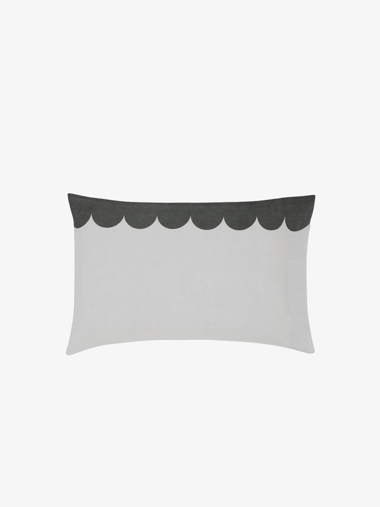 Grey Linen Scallop Pillowcase