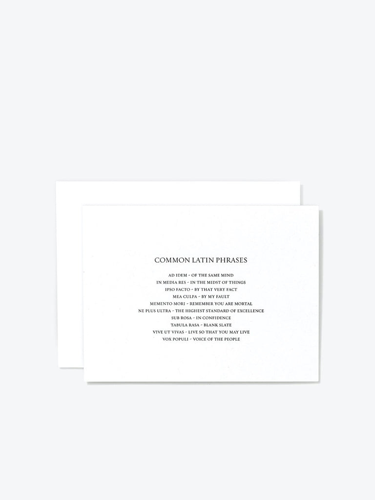 'Latin Phrases' Letterpress Card