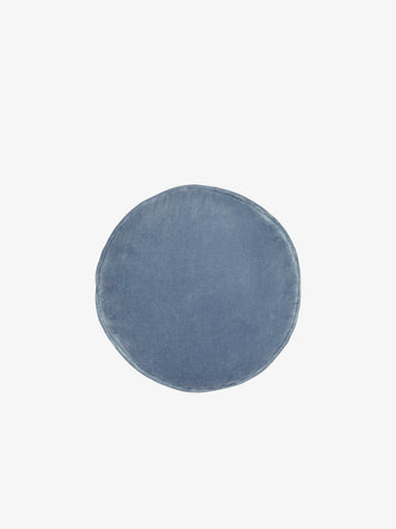Velvet Penny Round Cushion, Dusty Blue