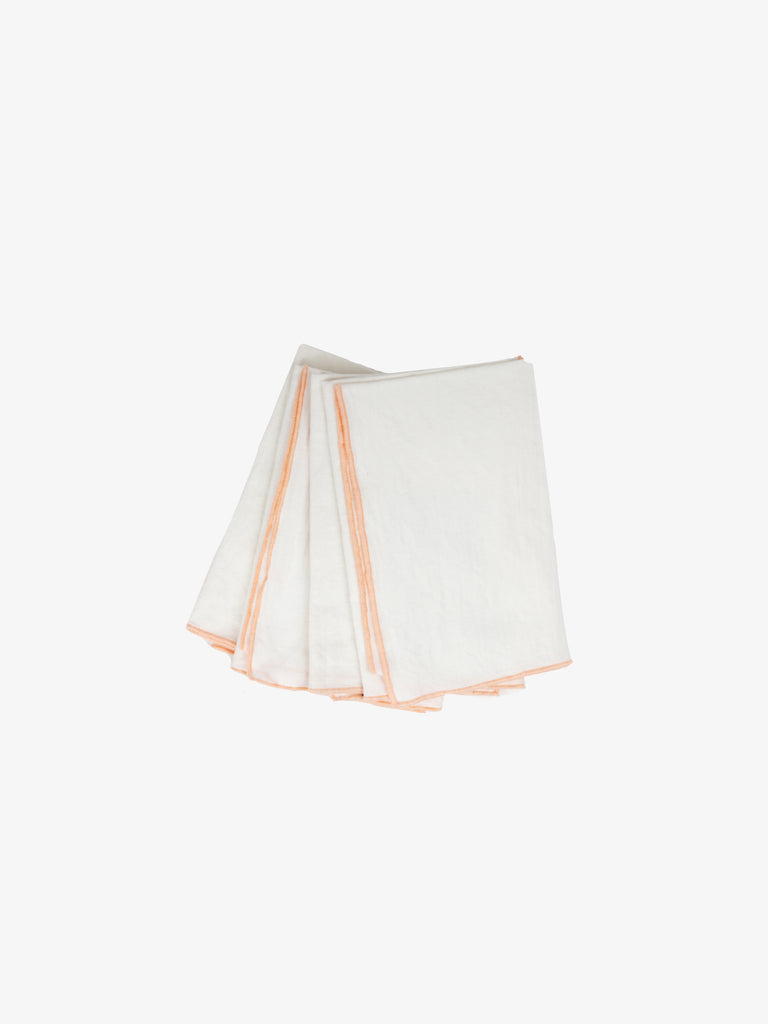 Edged Linen Cotton Napkin - Set of 4 'Peach'