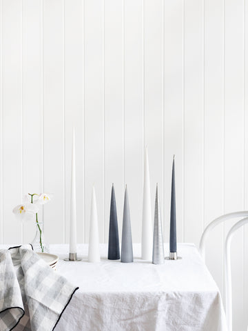 Cone Candle in Light Grey (avail in 2 sizes)