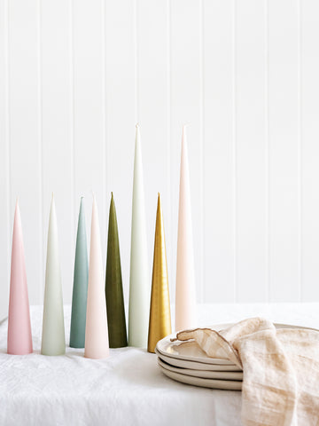 Cone Candle in Grey Green (avail in 2 sizes)