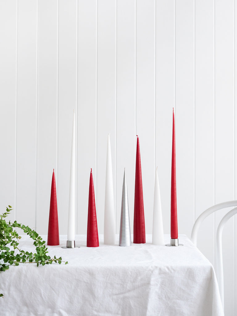 Cone Candle in Dark Red (avail in 2 sizes)