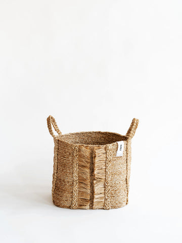 J'Jute Bazar Medium Wide Fringe Basket