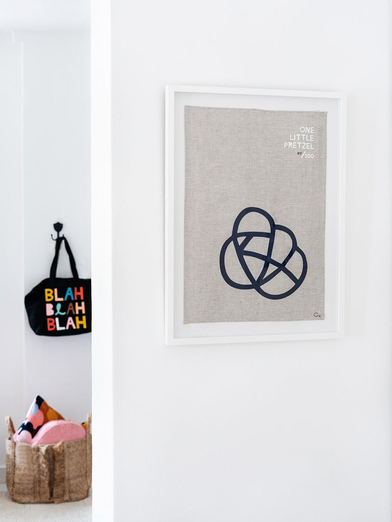 Framed One Little Pretzel Teatowel Art