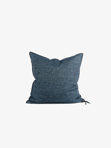Washed Linen Vice Versa Cushion in Petrol (3 sizes avail)