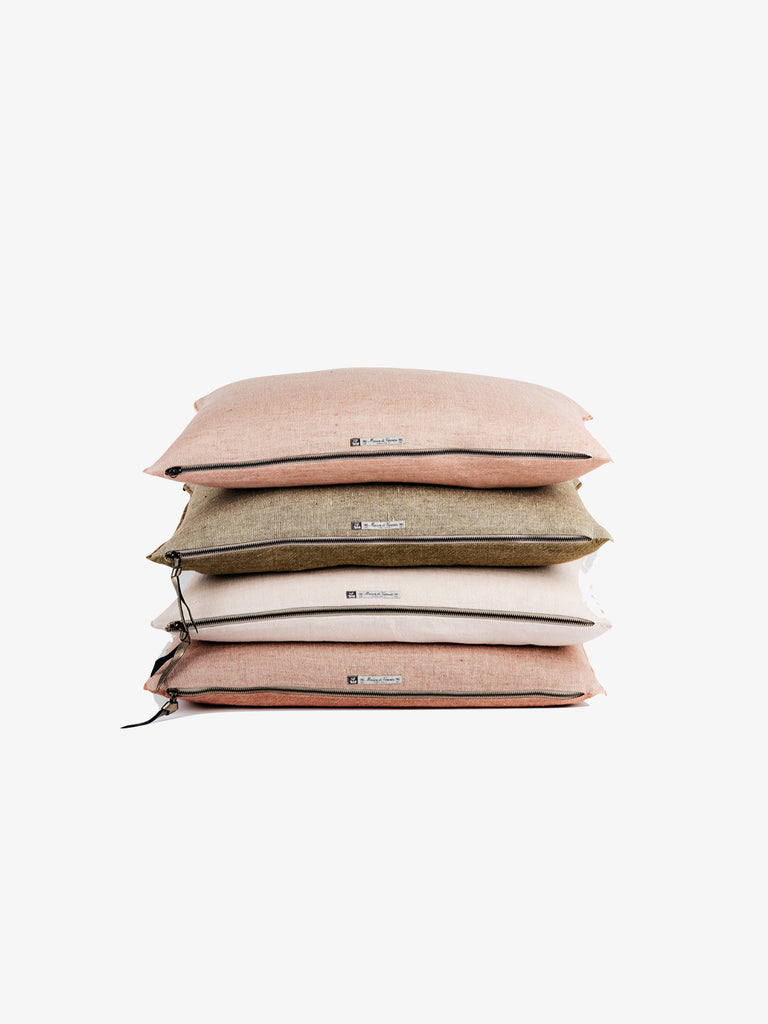 Washed Linen Vice Versa Cushion in Bois de Rose (3 sizes avail)