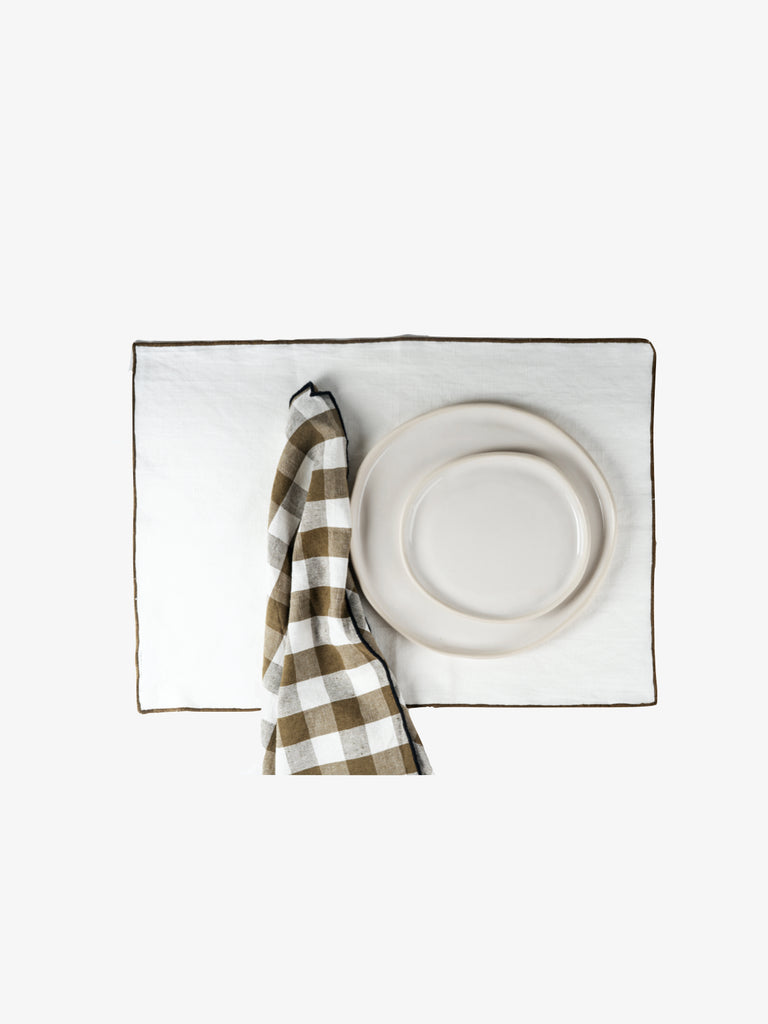 Linen Placemat with Stitched Edge - Set of 2, Kaki